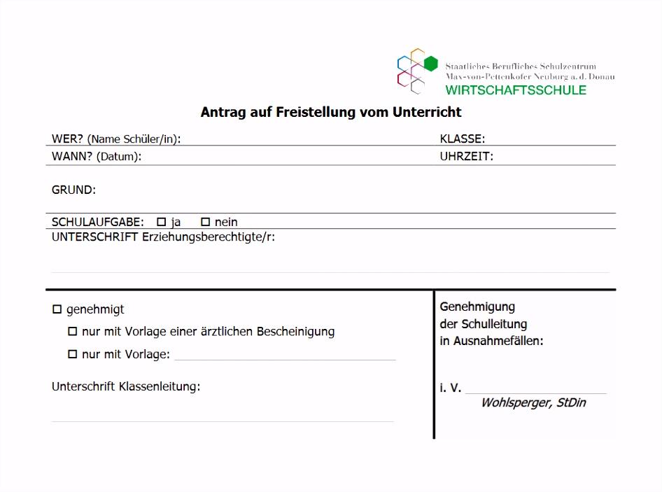 Befreiung Beurlaubung Wirtschaftsschule Neuburg an der Donau