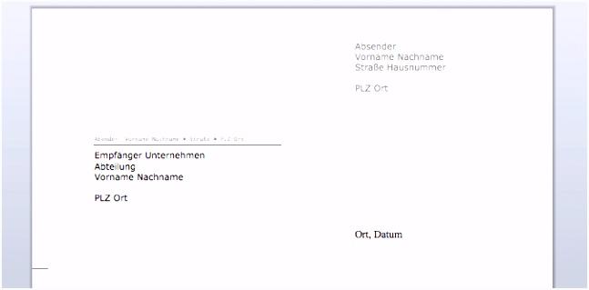 Briefumschlag Mit Fenster Absender Beispiele Briefkopf Vorlage