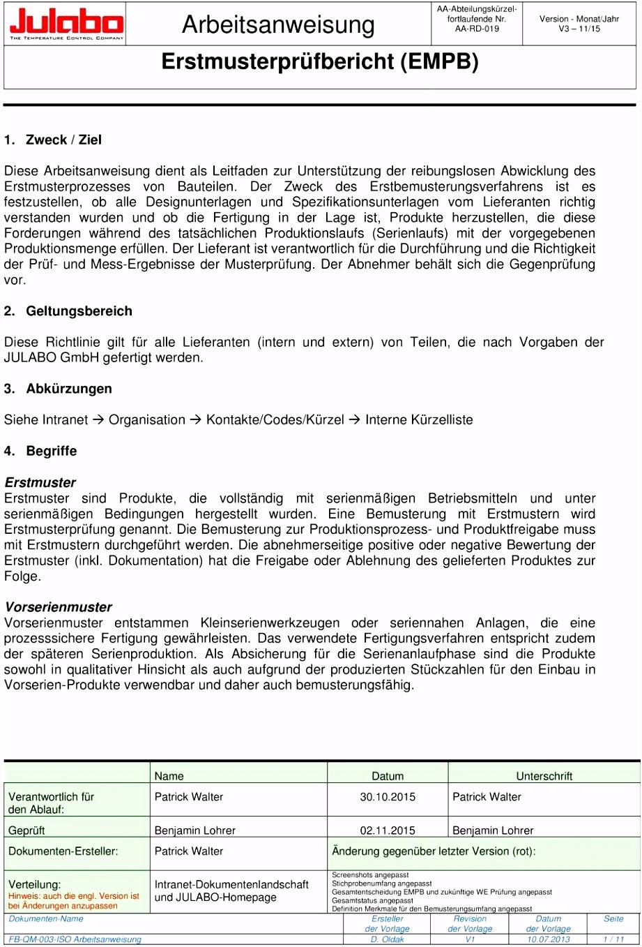 Arbeitsanweisung Erstmusterprüfbericht EMPB PDF