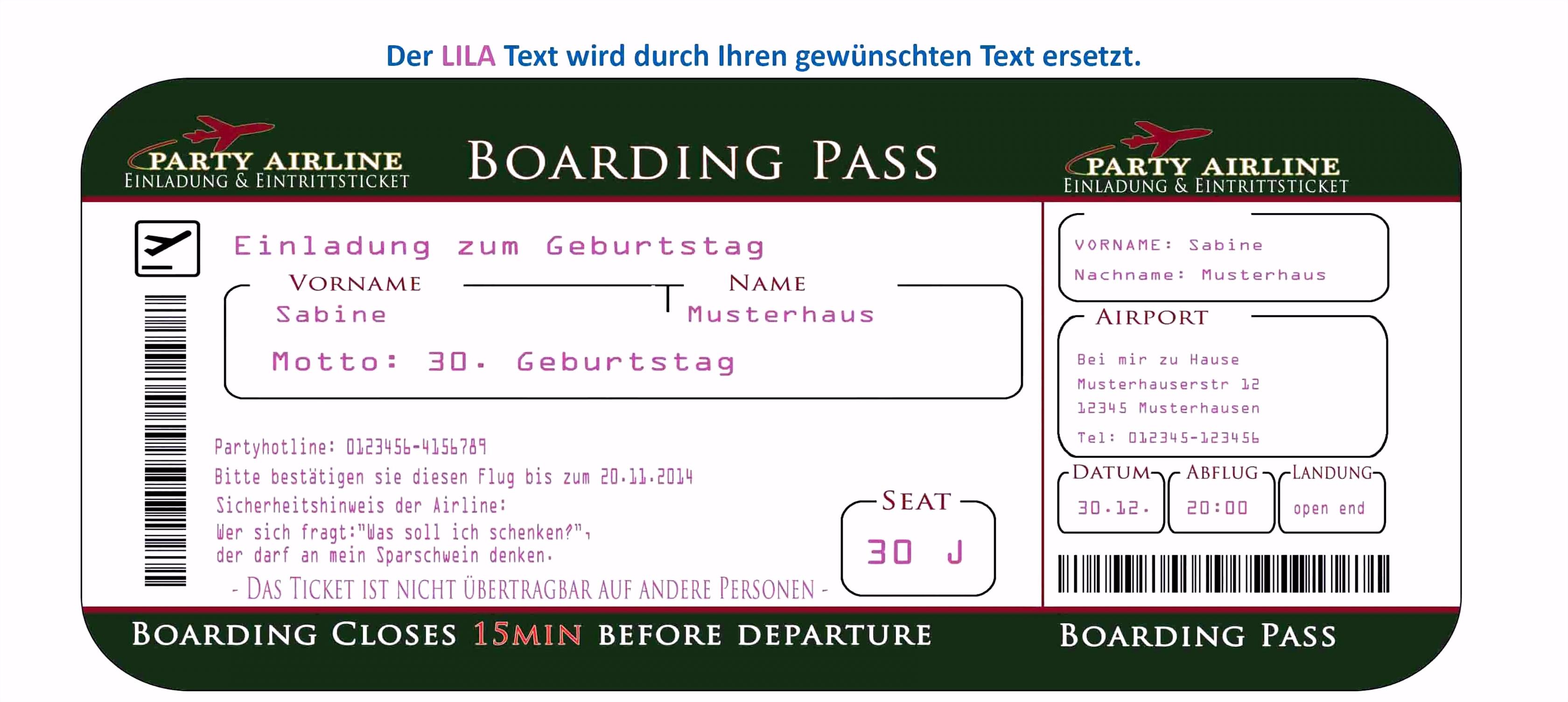 Einladung Eintrittskarte Vorlage Kostenlos