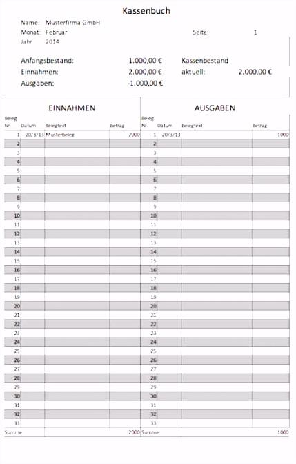 15 excel vorlagen kassenbuch