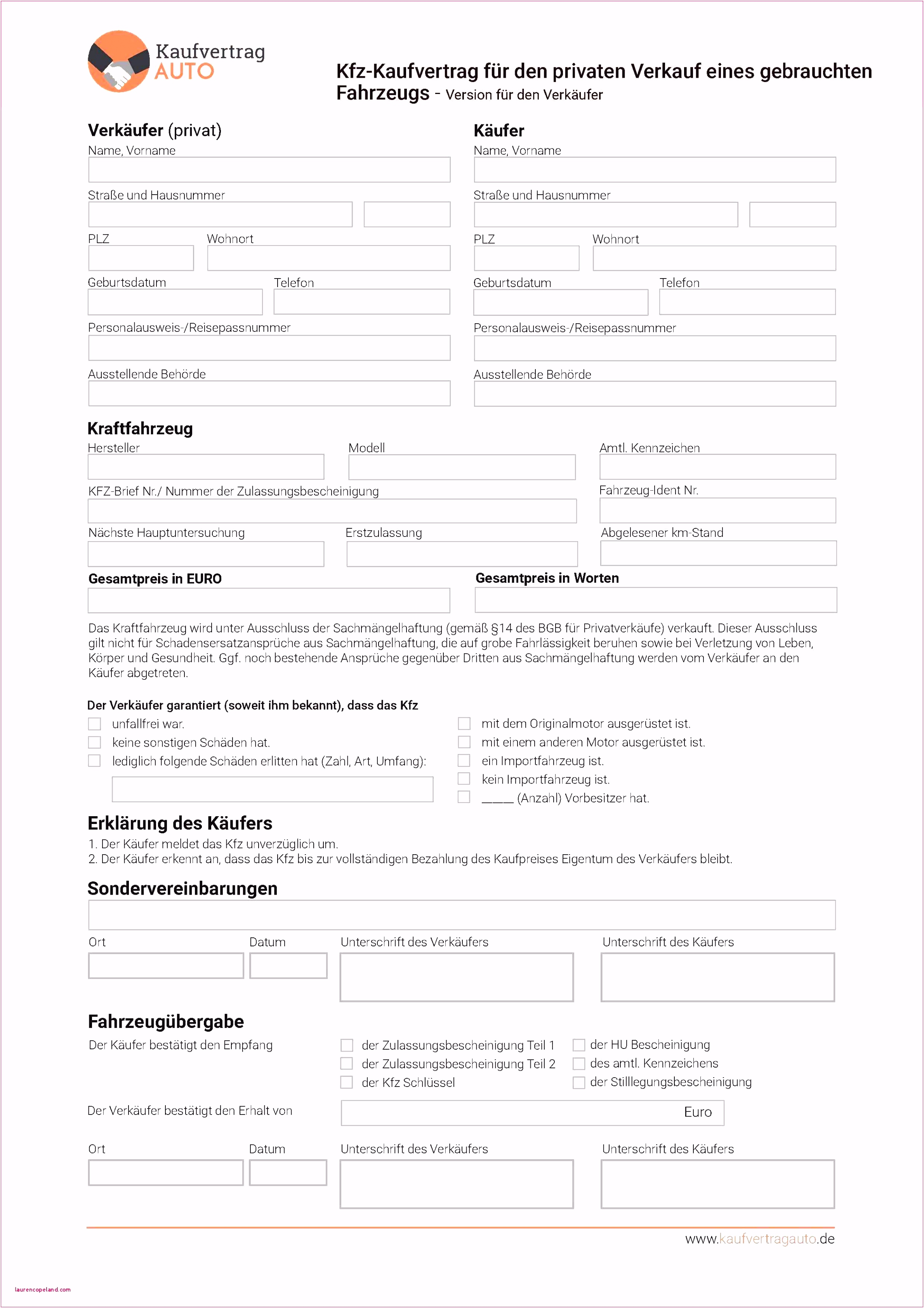 7 kaufvertrag vorlage kfz privat sampletemplatex1234. Black Bedroom Furniture Sets. Home Design Ideas