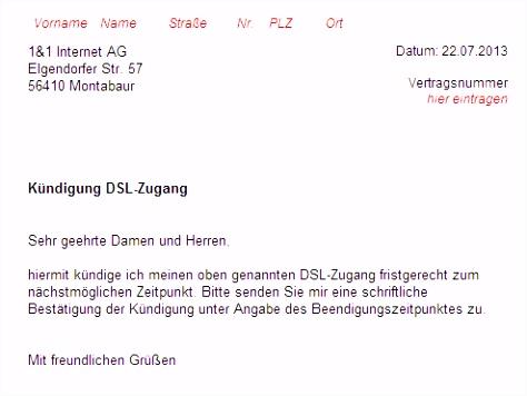 1&1 DSL Kündigung Vorlage Download – kostenlos – CHIP