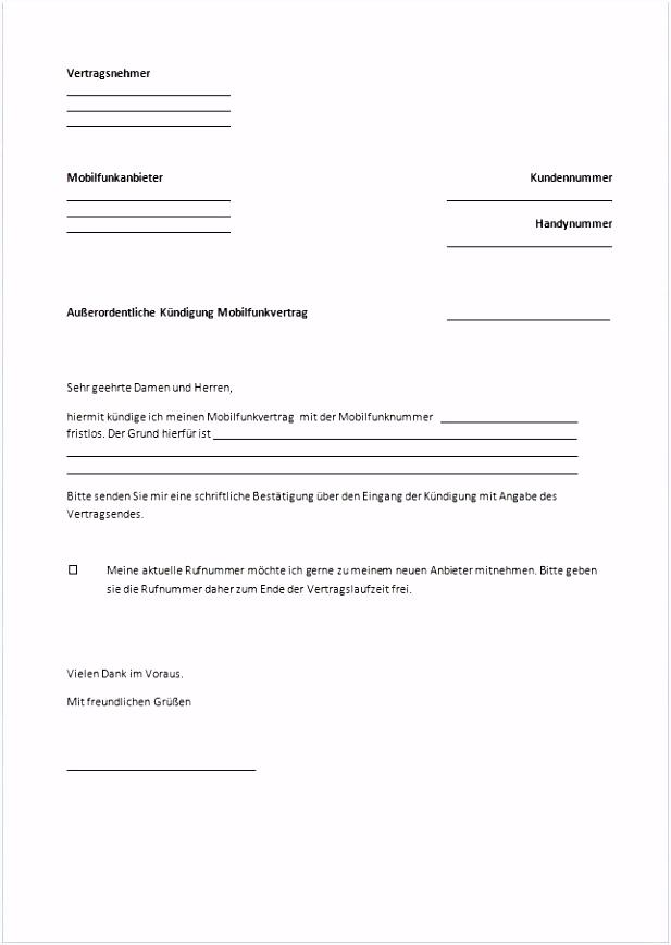Kundigung Schreiben Handyvertrag muster kündigung handyvertrag
