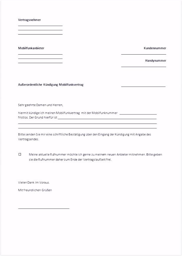 Kündigung Telekom Vorlage Word Vorlage Kündigung Handyvertrag