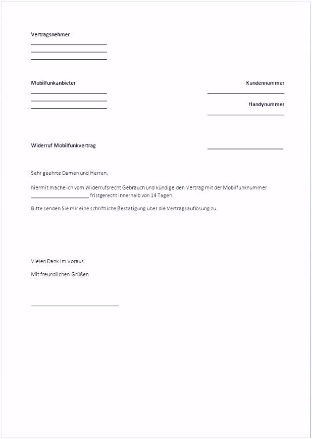 Kündigung O2 Vertrag Vorlage Rahmen Kündigung Zurückziehen Muster