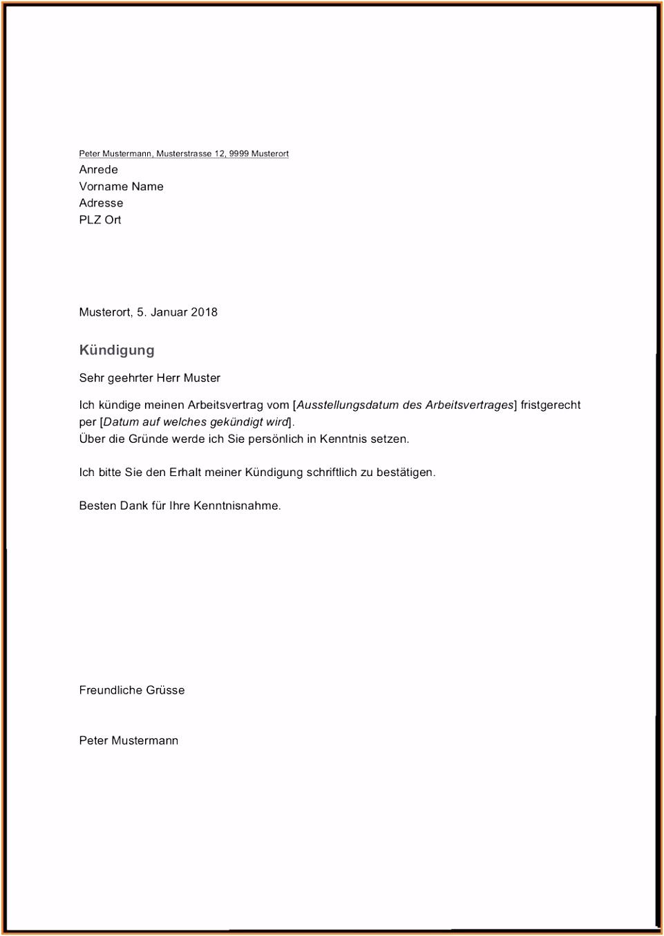 19 Kündigung Minijob Vorlage Word Rustikal Kundigungsschreiben