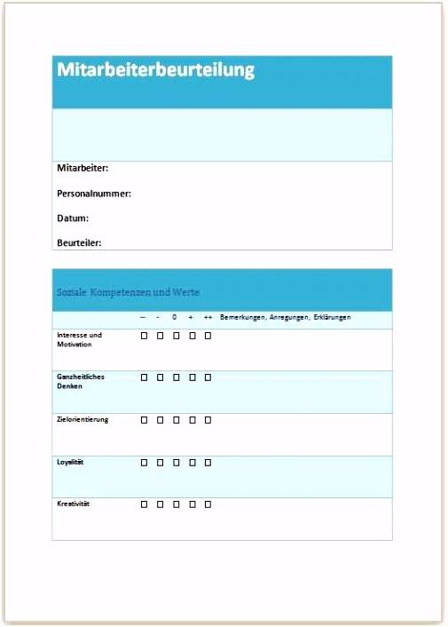 Mitarbeiterbeurteilung Vorlage Muster Hübscher Muster