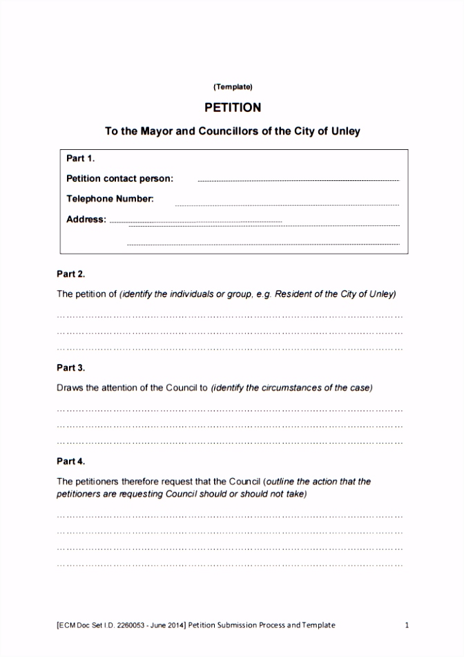 template for petition signatures