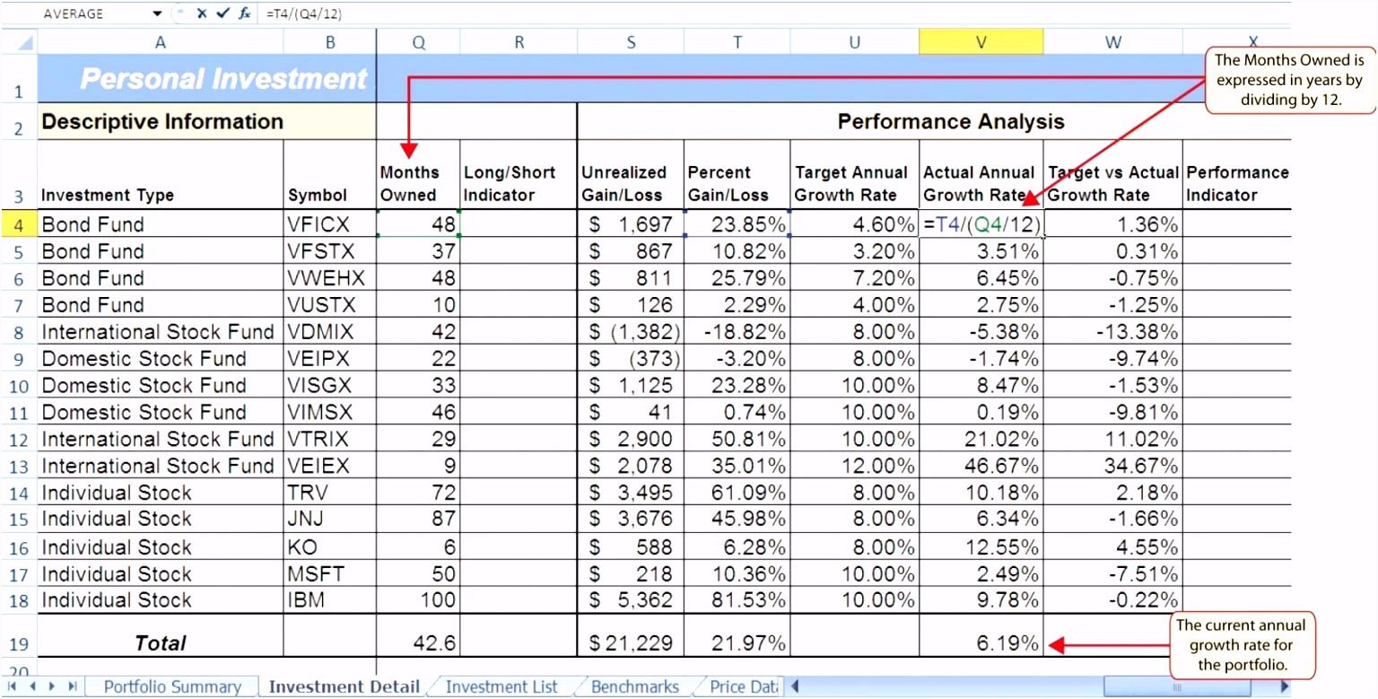 Free line Investment Stock Portfolio Tracker Spread