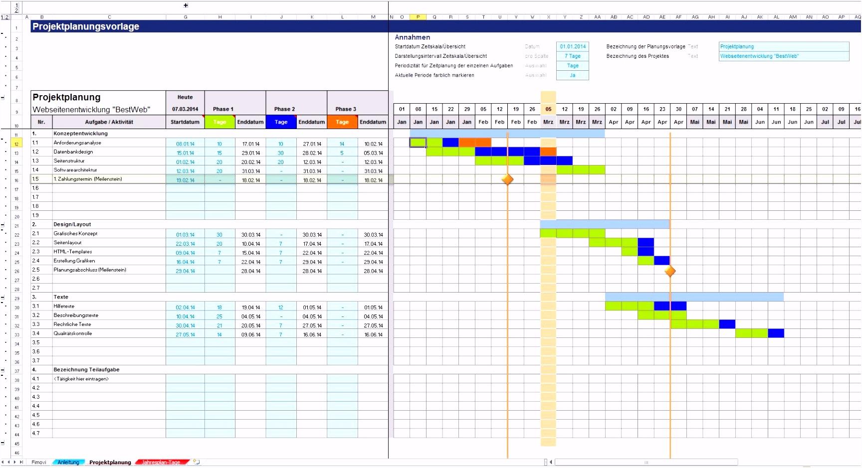 Projektstrukturplan Vorlage Excel Kostenlos – pronostico