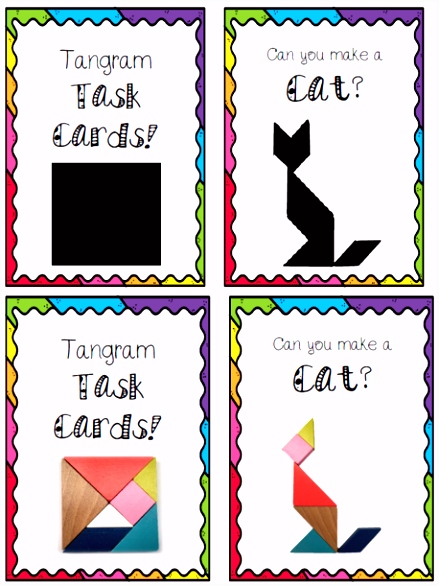 Tangram Task Cards Animals and Objects