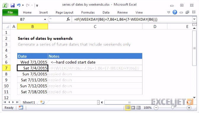 Excel formula Series of dates by weekends