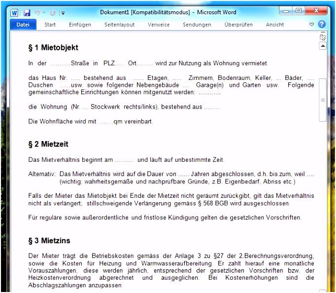 Mietvertrag Vorlage für Word Download – kostenlos – CHIP
