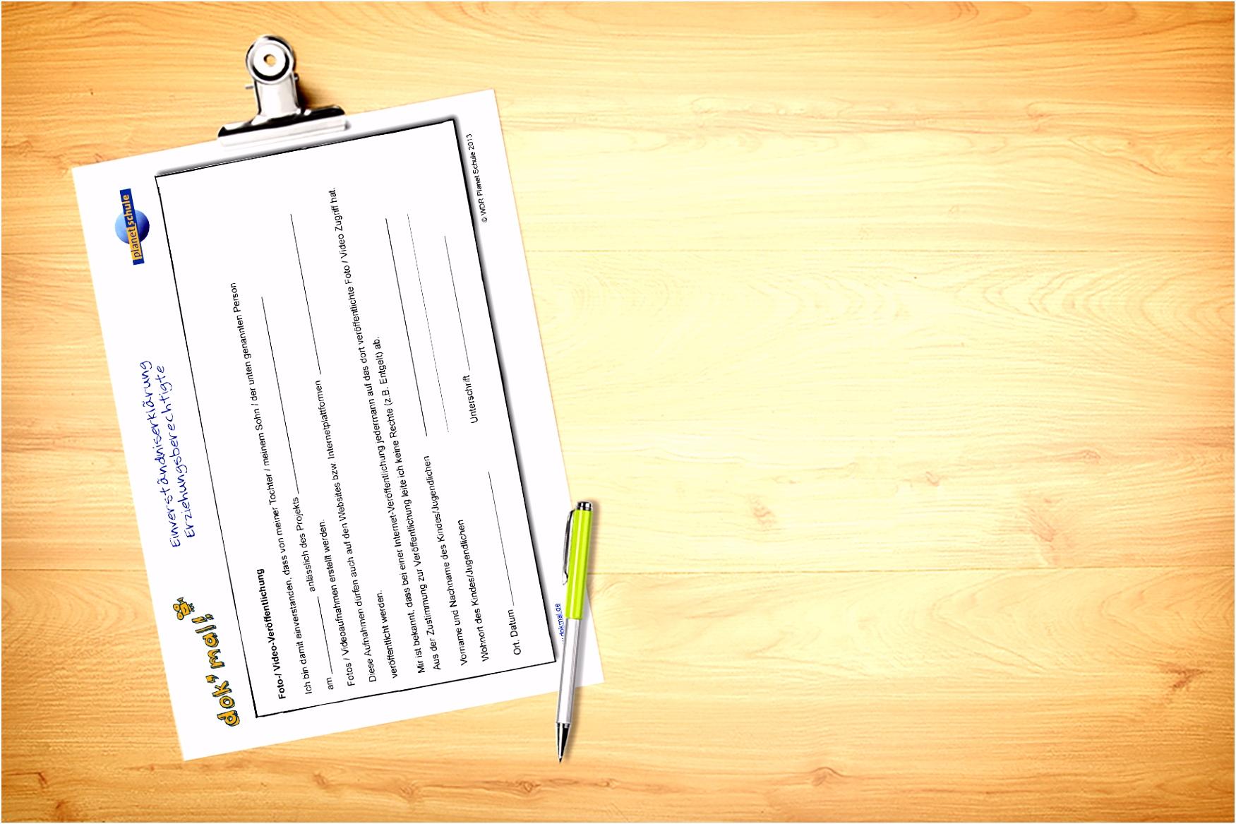 Kopiervorlage Einverständniserklärung zur Veröffentlichung von