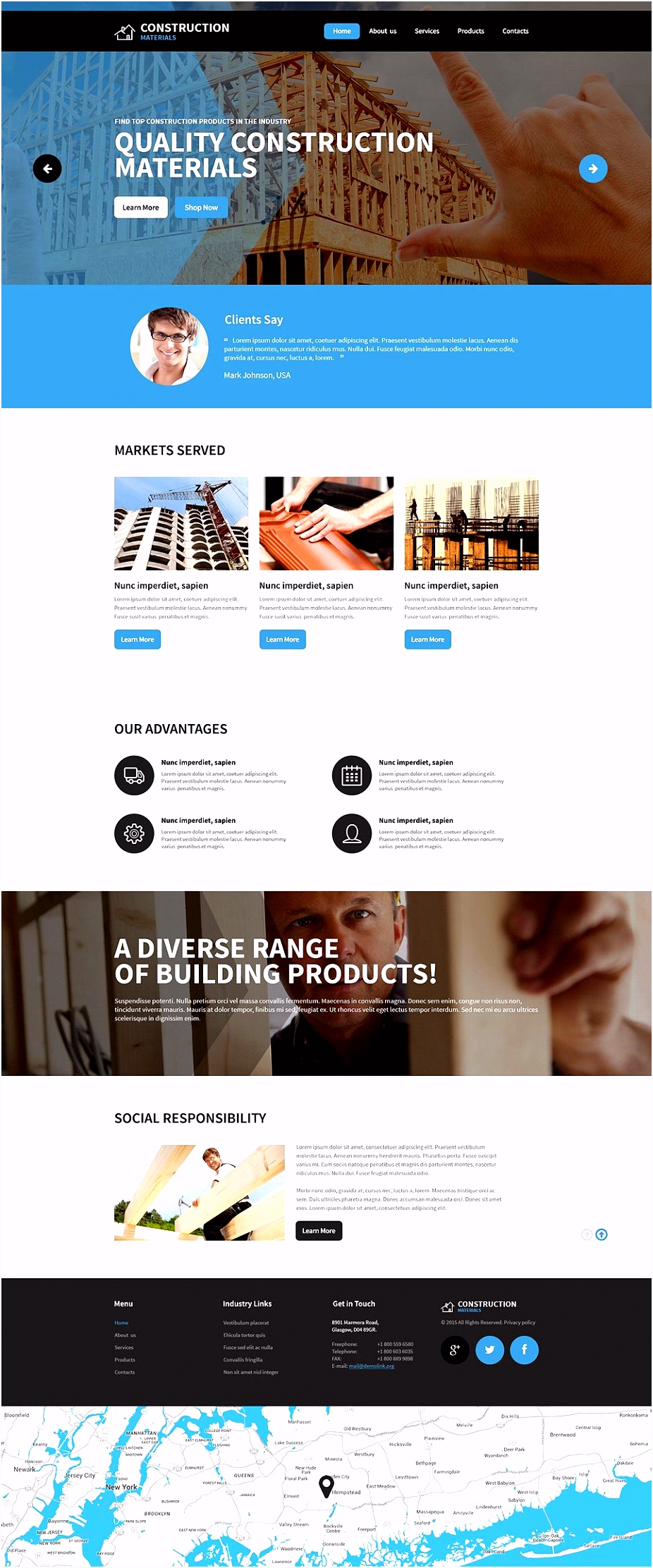 Construction pany Responsive Website Template Ideas