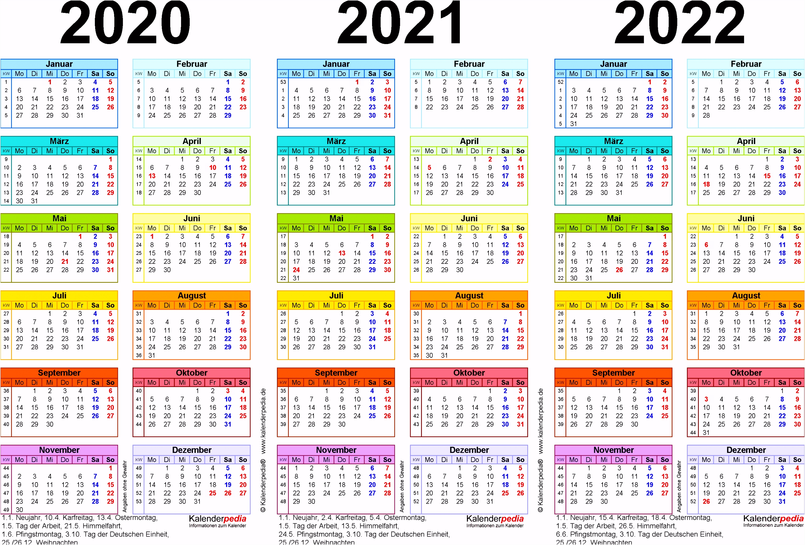 Dreijahreskalender 2020 2021 2022 als PDF Vorlagen