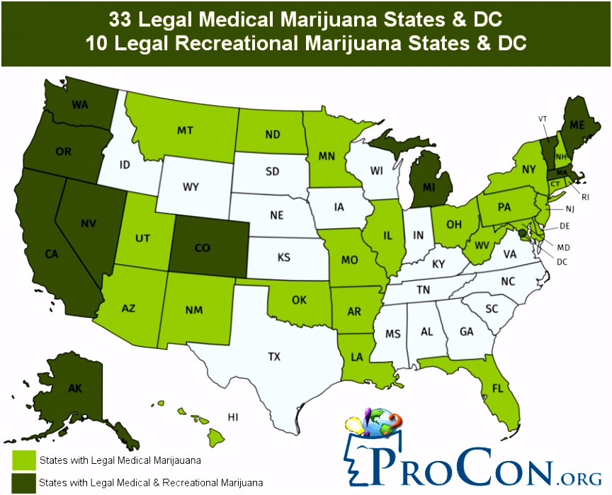 33 Legal Medical Marijuana States and DC Medical Marijuana