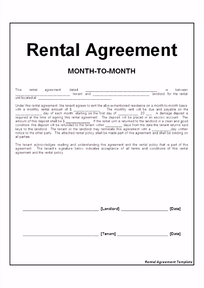 Residential Lease or Month to Month Rental Agreement Fresh Kundigung