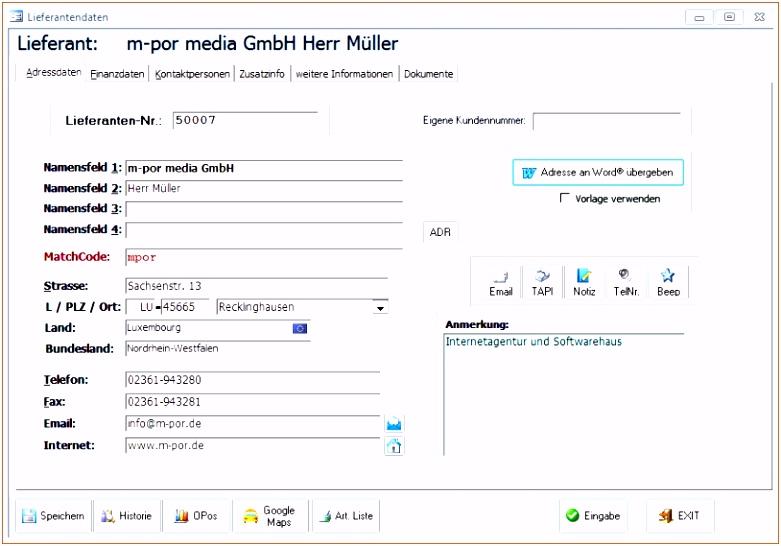 Adressverwaltung Excel Vorlage