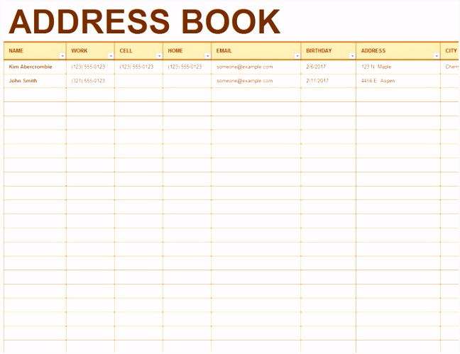 Excel Address List Template – insurancequotesxy