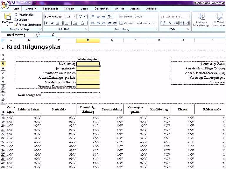 Tilgungsplan Excel Vorlage