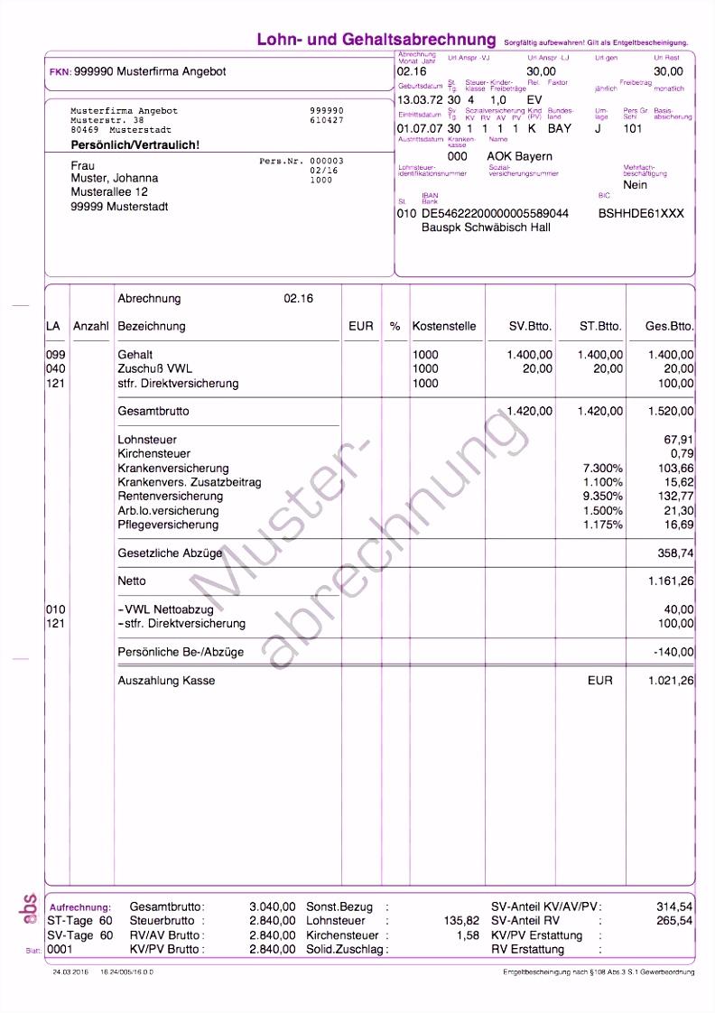 Gehaltsabrechnung Excel – pronostico