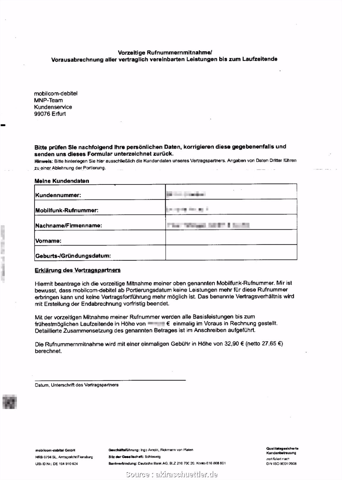 Neueste Muster Kündigung Mobilfunkvertrag Debitel Kündigung Schreiben