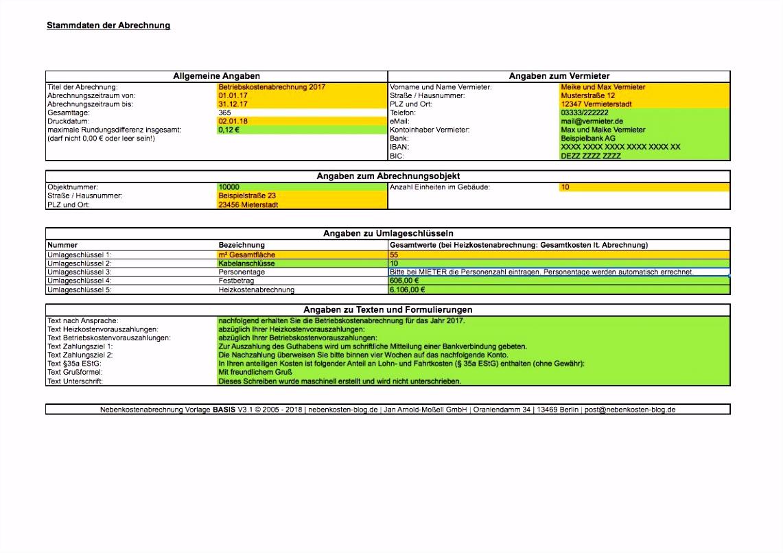 Heizkostenabrechnung Vorlage Excel Ungewöhnlich 7