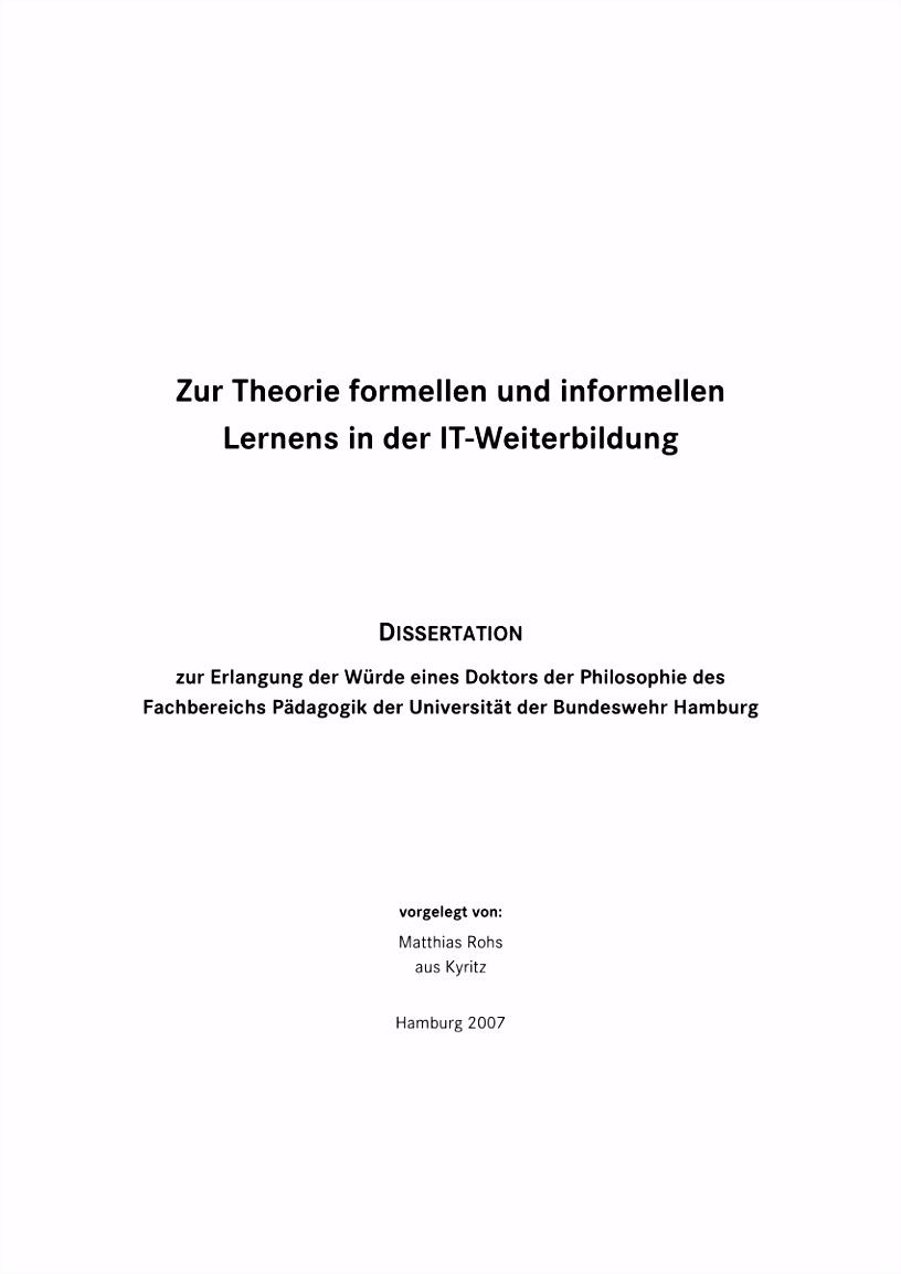 PDF Zur Theorie formellen und informellen Lernens in der IT