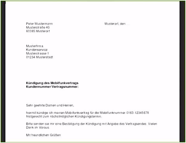 200 Schön Kündigung O2 Vorlage Kombination