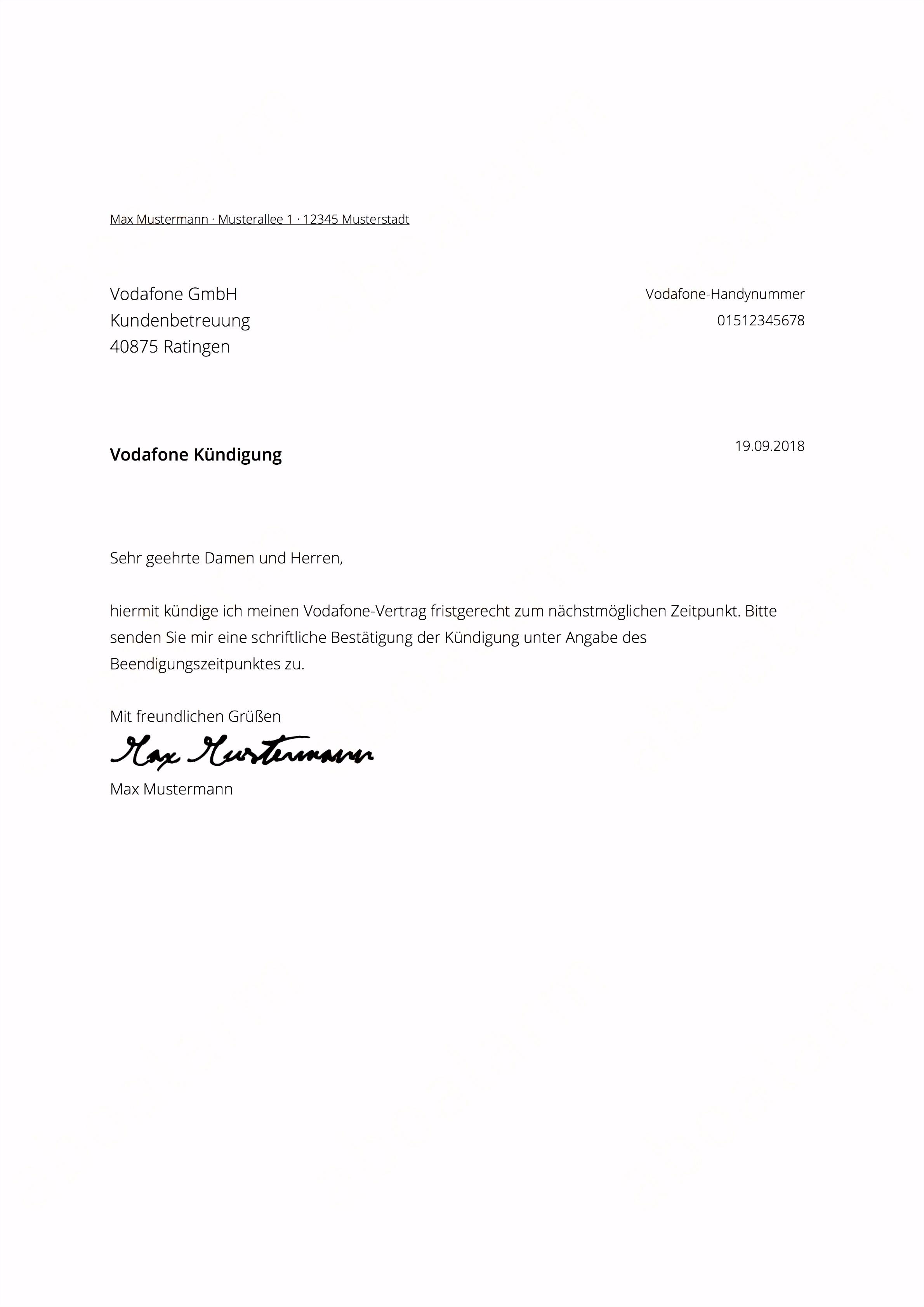 10 kündigungsschreiben vodafone vertrag
