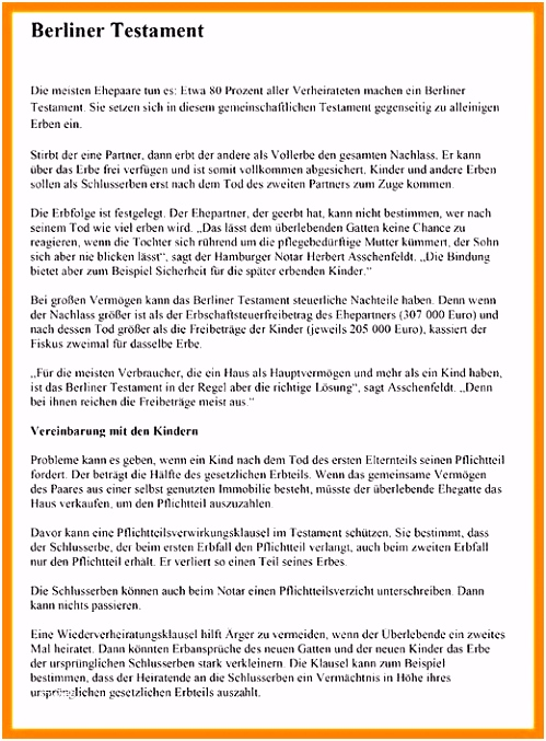 Testament Muster Pdf Berliner Testament Vorlage Pdf Modell Besten