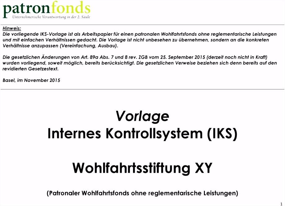 Vorlage Internes Kontrollsystem IKS Wohlfahrtsstiftung XY PDF