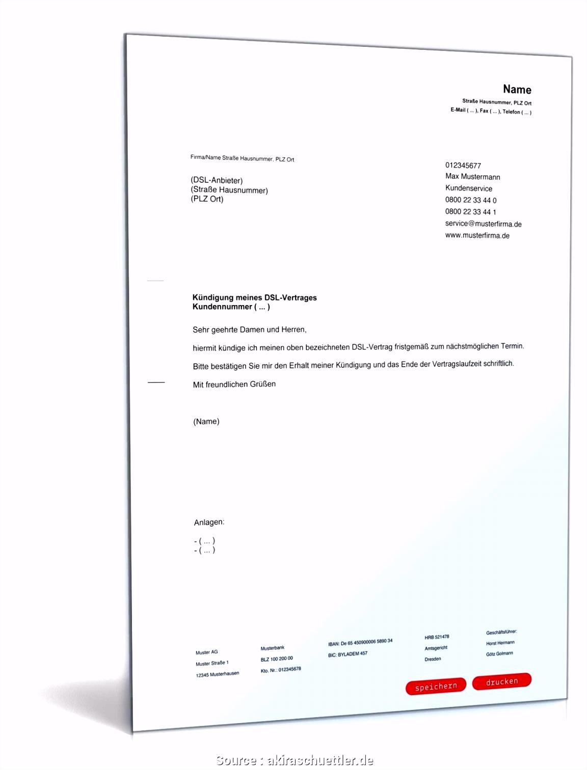 Typisch Muster Kündigung Vertrag 1Und1 Kündigung Vorlage