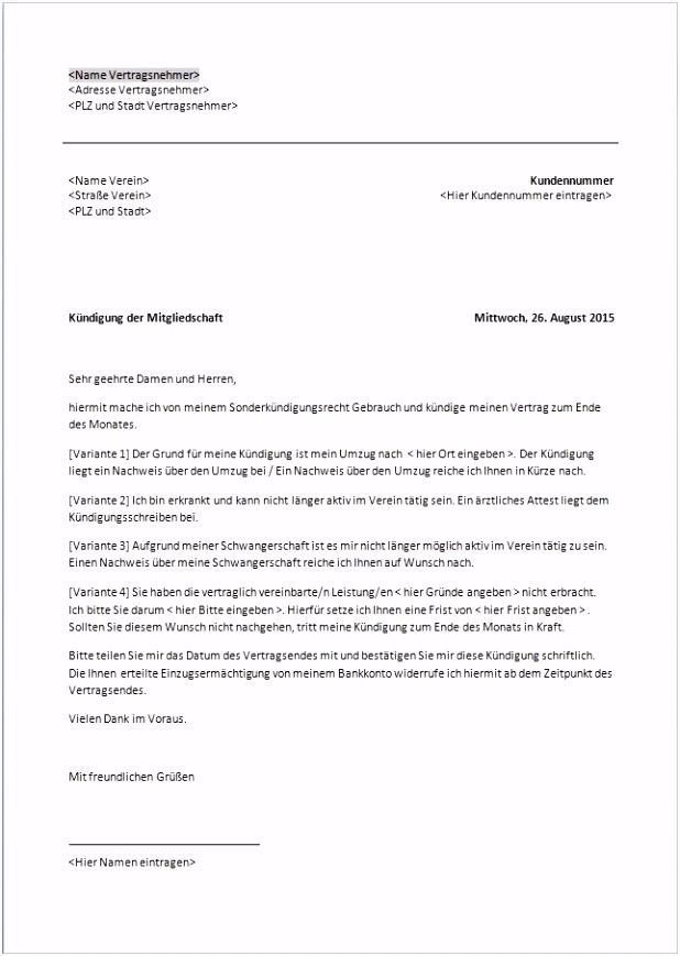 Kundigung Mitgliedschaft Sportverein Frisches Kundigung