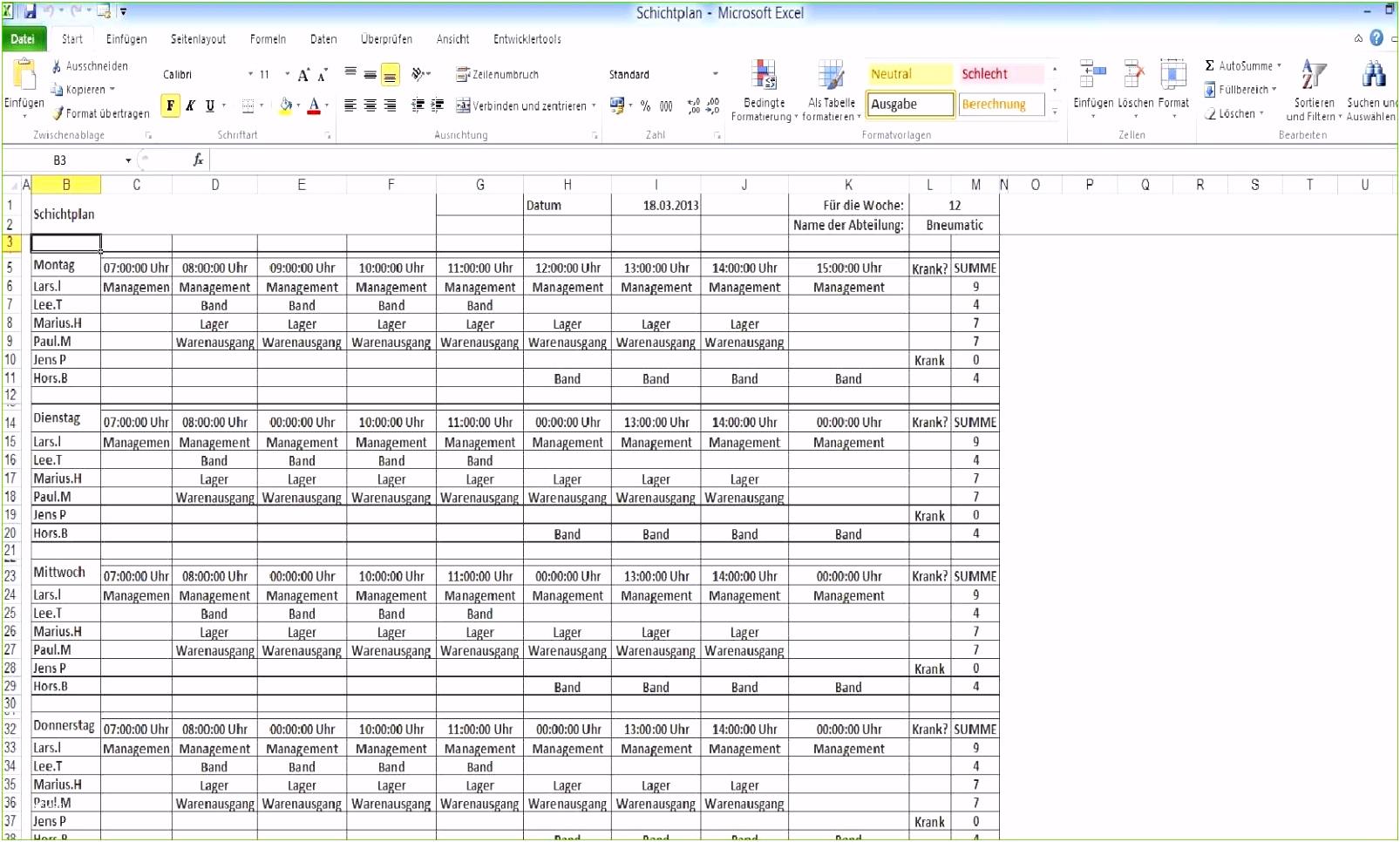 13 Produktionsplanung Excel Vorlage Makellos Mitarbeiter Datenbank