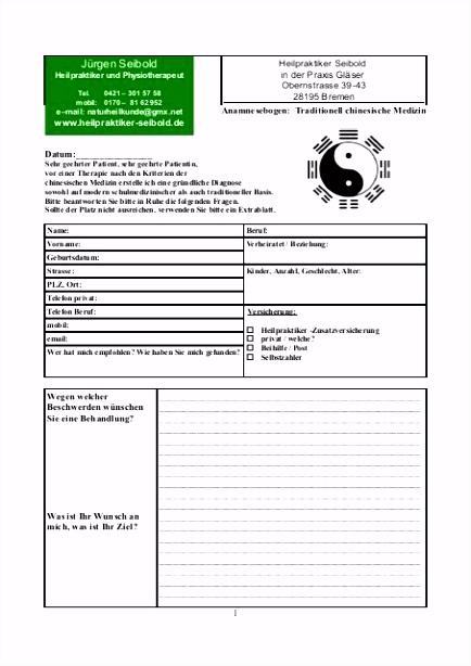 Anamnesebogen von Heilpraktiker Seibold zum