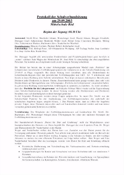 Protokoll der Schulverbundsitzung am 29 09 2003 Blikk