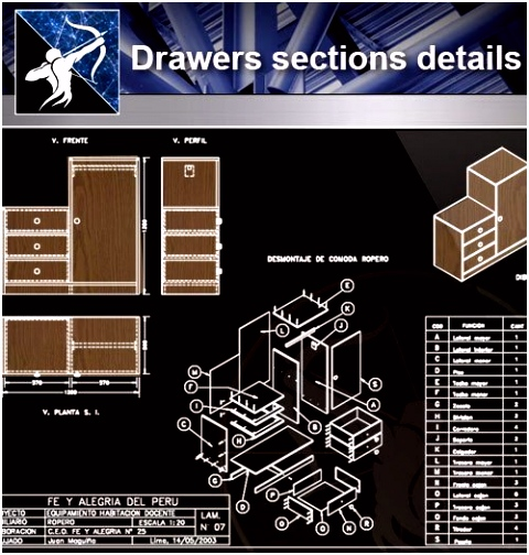 Architecture CAD Details Collections】Drawers sections detail in
