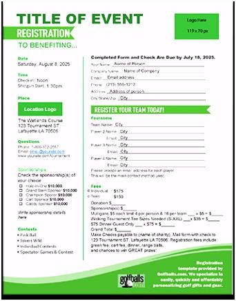 Besucherschein Vorlage Free Golf tournament Registration form Template R6og38ztn1 Guru5hcze4