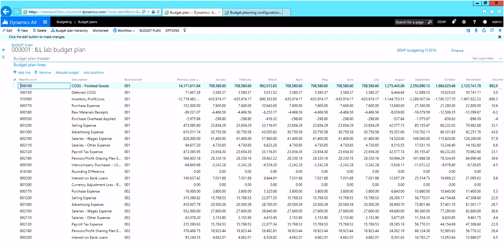 Bud planning Finance & Operations Dynamics 365