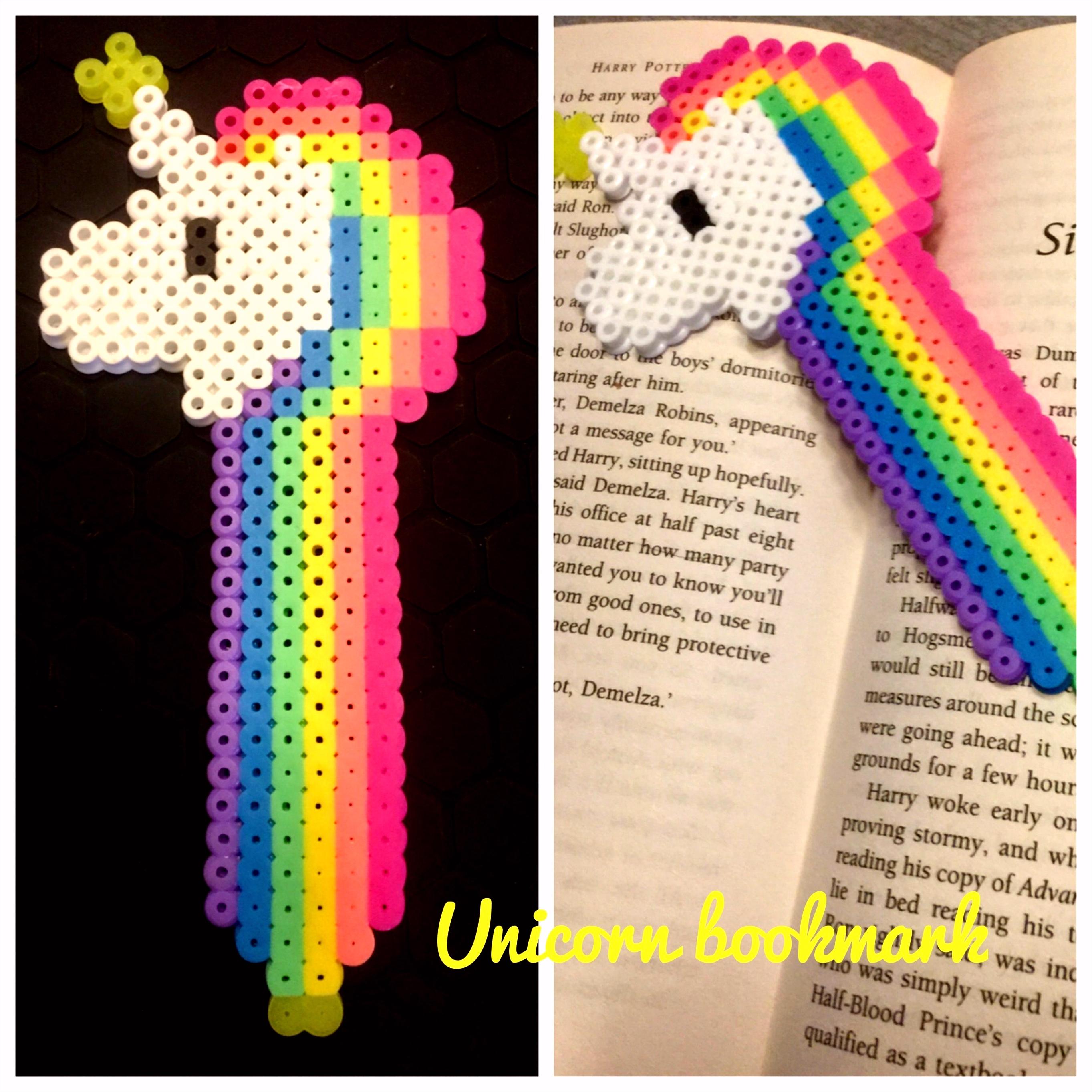 Perler bead unicorn book mark Einhörner Diy