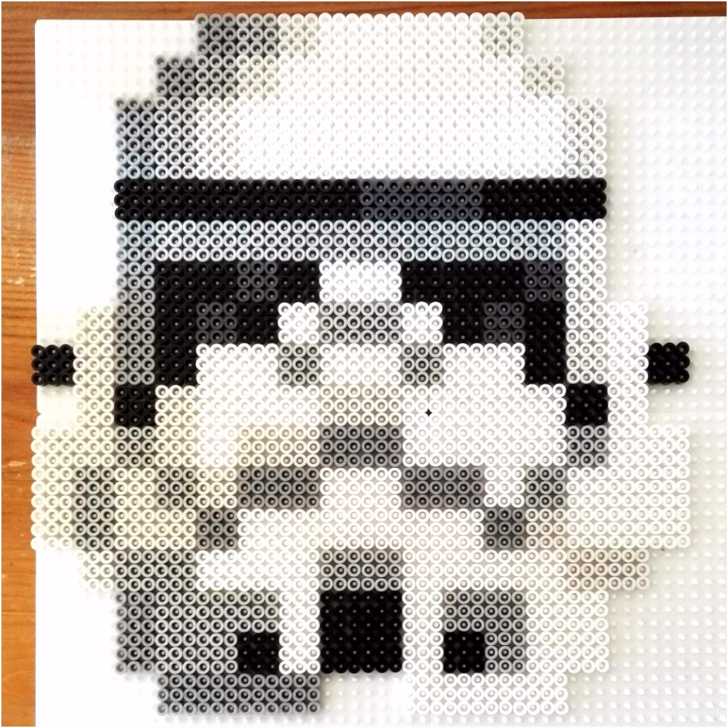 Big 8 bit Stormtrooper Star Wars perler fuse beads by