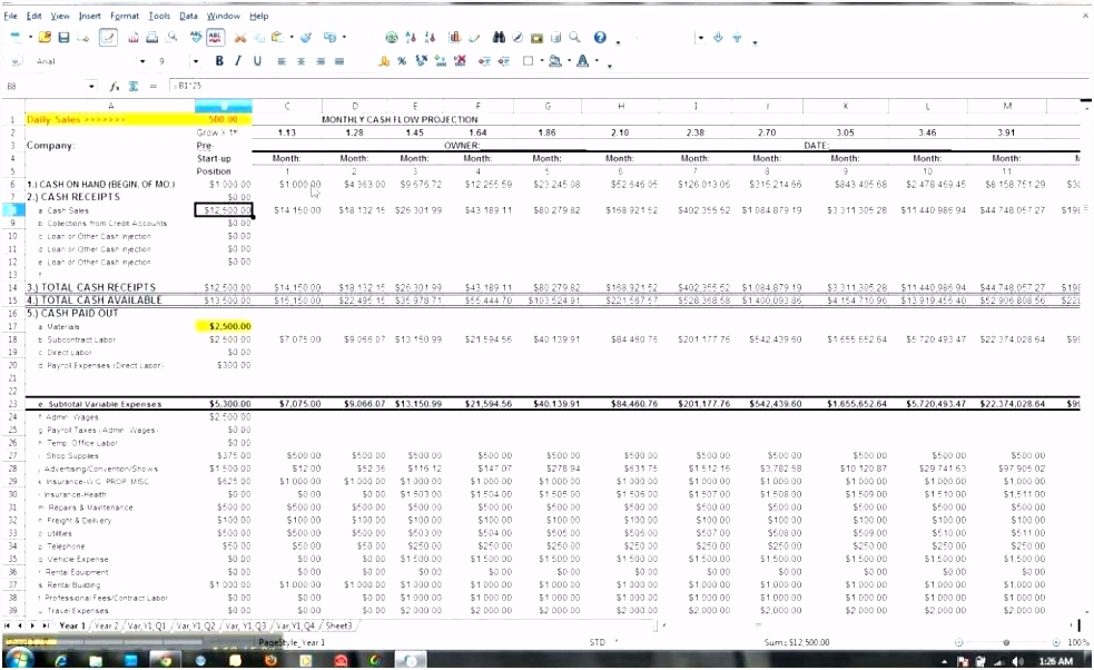 free cash flow projection template