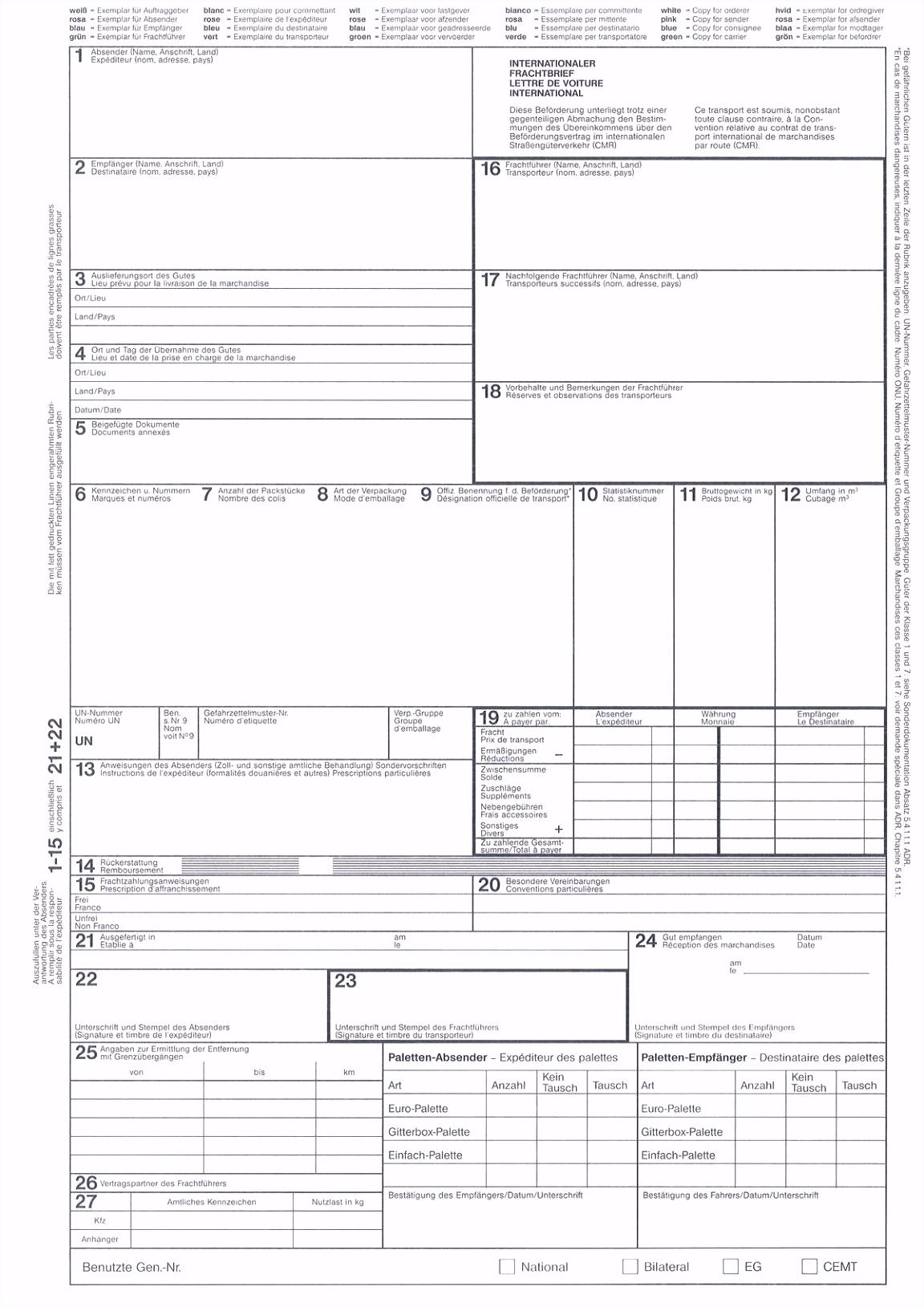 Cmr frachtbrief excel Cmr Frachtbrief Excel Download Sale