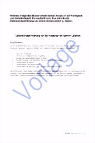 Dsgvo Vorlage Datenschutzerklarung Datenschutz Bei Server Logfiles I Datenschutz & Datensicherheit 2019 P3hi61ldk1 Iuya56hsgm