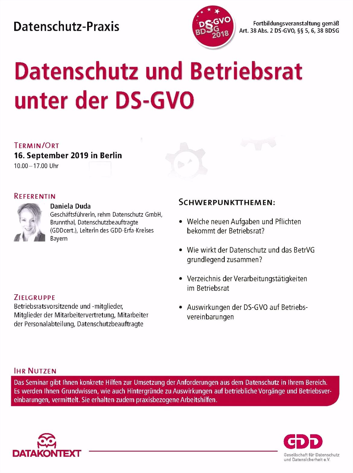 Teil 3 Datenschutz Management nach der DS GVO Seminare