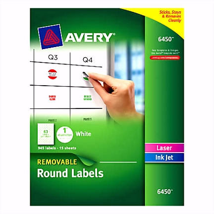Avery Removable Round Multipurpose Labels 6450 1 Diameter White Pack