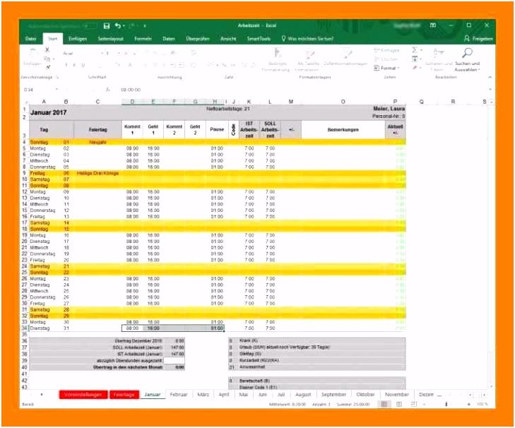 51 Excel Vorlage Arbeitszeit